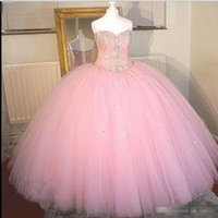 Wholesale Pink Ball Gown Quinceanera Dresses Real Images Crystal Beaded Sweet Prom Party Gowns Cheap Debutante Masquerade Vestidos Anos