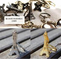 Wholesale 300pcs HOT sale colors key ring keychain Alloy Retro Eiffel Tower keychain france souvenir paris for children gift D467