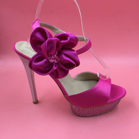 adhesive rubber feet - Pink Satin Sandals Shoes Women Plus Size Wedding Party Foot Wear High Heel Stiletto Platform Side Flower Ankle Strap Summer Shoe