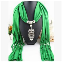 Wholesale 2016 Fashion Pendant Scarves Winter Warm Women Scarf owl Pendant Scarf With Tassel Rhinestone Jewelry Necklace Scarves colors DHL free