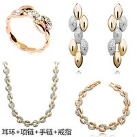 Wholesale Europe and the United States foreign trade Austria crystal wheat ear Necklace Earrings Ring Bracelet jewelry sets A77 B77C32E11