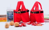 apple christmas ornament - 2016 Fashion Santa Pants apple candy Bags Holiday Give Away Candy Gift Christmas Decorations cute Reticule