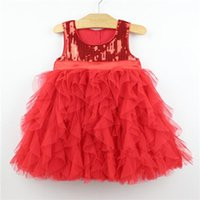 Wholesale color Sequins children summer dresses for baby girl t t birthday party outfits princess dress ball gown sleeveless