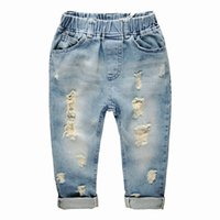 Wholesale 2016 new boys jeans trousers children brushed cotton material soft and comfortable quality guarantee