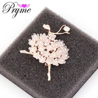 ballet pin - Pryme K Gold Plated Brooches Fine Jewelry Rhinestone Ballet Dance Girl Brooches For Women Gift Resin Brooch Pin Up X