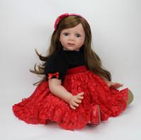 bebe wigs - 60cm Reborn Toddler Doll Big Girl Vinyl Soft Lifelike Babies Toys Long Hair Wig Fridolin Baby Alive Real bebe gift reborn boneca