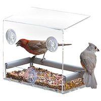 Wholesale Window Bird Feeders CLEAR GLASS WINDOW VIEWING BIRD FEEDER HOTEL TABLE SEED PEANUT HANGING SUCTION
