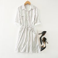 adult colored shirt - Women s drewstring colored wave striped print fifth sleeve cotton midi shirt dress with pockets Vetaland