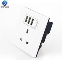 Wholesale ETOPLINK EK C01 Home Wall Charger Adapter UK Plug Socket Power Outlet Panel Three USB Port Electric Shock Protection For iPhone For Samsung