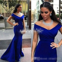 bandage dress for sale - Royal Blue Elegant Formal Evening Dresses For Arabic Women Hot Sale Off Shoulder Plus Size Prom Party Gowns Special Occasion Wear Cheap