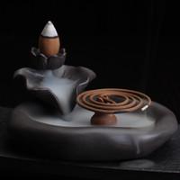 Wholesale ceramic tile bathroom pictures Lotus Pond Smoke Backflow Ceramic Censer for Cone Stick Coil Incense Burner