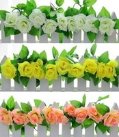Wholesale 2 m ft Artificial Silk Rose Flower Ivy Vine Leaf Garland Wedding Party Home Decor Christmas indoor outdoor decoration rattan colorful