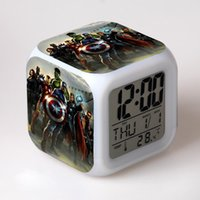 america alarm - Marvel Avengers Super Hero Anime Led Alarm Clocks Action Toy Figure Kids Alarm Clocks Ironman Captain America Hulk Thor Black Widow Hawkeye