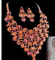 bead web - wonderful red diamond crystal beads web drops wedding set necklace earings spwhy