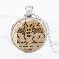 antique animal pictures - 3 colors hot sale antique bronze christmas gift necklace silver wedge deer picture art glass cabochon pendant necklace
