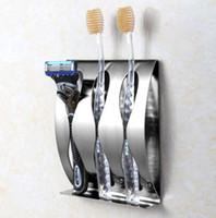 adhesive toothbrush holder - Stainless Steel Wall Mounted Toothbrush Holder Self adhesive Shaver Rack Tooth Brush Organizer Box Bathroom Accessories