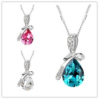 beauty element - Swarovski Elements Necklaces Jewelry Top Women s Gift Necklace Colors Beauty Crystal Necklace Temperament Big Drop Style Pendant Jewelry