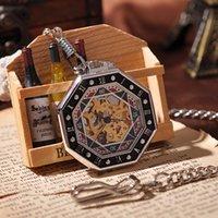 antique card box - Hexagon Diamon Card Pendant Men Silver Pocket Watch Mechanical Hand Winding Necklace Luxury Gift Box Vine Watch