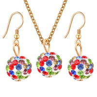 Wholesale Colors Candy Crystal Ball Necklace Earrings Women Gift Jewelry Sets Wedding Jewelry Set For Party Dresses parure bijoux femme