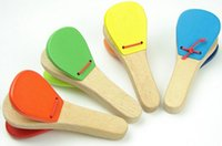 Wholesale Lovely Kids Child Baby Wooden Castanet Clapper Handle Musical Instrument Toy Preschool Early Educational Hand Clapper