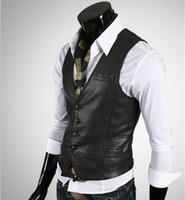 Wholesale 2016 New Brand men vest jacket faux fur vest solid V neck leather mens slim Casual vest plaid