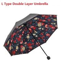 Wholesale Sun Shade Black Cotaing Inner Print Fold Women Mini Umbrella Free Ship