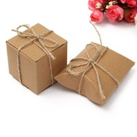 Wholesale 2016 New Arrive Recycled Brown Card Small Gift Pillow Box Boxes Wedding Favour Party Candy Case