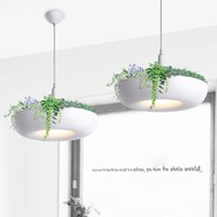 Wholesale Modern Fashion Pendant Lamps White Pot Plants Lights Lamps Simple Design Pendant Lights for Indoor Decorate OED