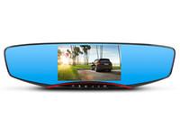 5.0 pulgadas de coches DVR de doble cámara de estacionamiento de espejo retrovisor coche de la cámara de visión nocturna de video grabadora coche de la cámara de la paliza 1080p caja negra