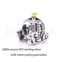 Wholesale 1Pc Sterling Silver Charm Beads Pumpkin Car with Golden Crown for Pandora Bracelet Pendant Big Hole Aperture DIY European Jewelry