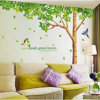Wholesale 310x204cm big size extra large wall decals fresh green leaves plant tree home decor wall stickers mural art