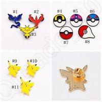 Wholesale Chrismas Tin - Poke Brooch Pins Cartoon Pikachu pokeball Badge Zinic Alloy Action Figures Anime Toy Chrismas Gift 11 styles OOA801