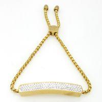alloy flat bar - Fashion Flat Tag With Crystal Bracelet Hand Chain Charm Bracelet K Gold Bracelet For Women Stainless Steel Bracelets Bangles