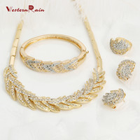 african american designers - WesternRain K Gold Plated Necklace Bangle Ring Stud Earrings Designer Women Jewelry Gold With Silver Feathers Jewelry Sets A011