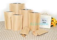 bean sack - 12X20 cm X standing brown kraft paper with inner aluminized bags reusable ziplock craft paper coffee bean packaging sack