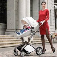 Wholesale high lanscape Deluxe PU Leather baby stroller European standard Infant folding Pram carts Pushchair