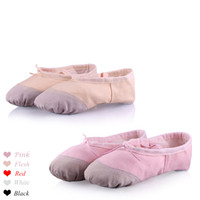 Wholesale Girls Kids Adults Ladies Ballet Dance Shoes Pig Leather Split Soft Sole Ballet Slippers Canvas Ballet Flats Size Colors Available