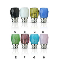 Wholesale Colorful Rhombus Glass Drip Tips Stainless Steel Diamond Glass Drip Tip Wide Bore MouthPiece Fit Atomizers DHL Free