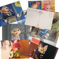 Wholesale Prettybaby set zootopia postcard cartoon pattern paper post card Judy Nick greeting Cards Party Festival Supplies Pt0418 la