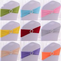 Wholesale Hot Sale Spandex Chair Bands Bows Lycra Elastic Chair Bands With Round Buckle For Wedding Banquet