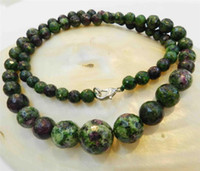 Wholesale Faceted mm Red Green Ruby Zoisite Round Beads Necklace AAA