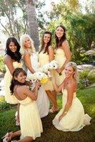 al por mayor vestidos de verano de color amarillo para barato-Baratos Amarillo Gasa Amarillo Bridesmaid vestidos de longitud de la rodilla 2016 Escote corazón de verano Made in China Dama de vestido de honor vestido