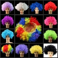 Wholesale Men s and women s carnival costume party wigs fans wig fashion explosion head of curls False hair set The clown wig