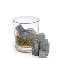 beer bulk - New Arrival Whiskey Stones Rocks Glacier Cold Ice Cubes Soapstone Bulk Wine Beer Drink Cooler Bar With Velvet Bag
