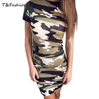 Wholesale Sexy Girls Mini Clothes - 2016 Tight Clothes Girls O-neck Army Green Tight Dress Women Short Sleeve Sexy Girl Tight Dress