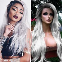 Cheap Dark Root Ombre Long Wavy Human Hair Lace Front Wig Two Tone Color 1B Black Root To Grey Human Hair Wigs For Women