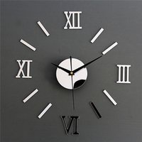 Wholesale Modern D Acrylic Roman Numerals Wall Clock Crystal Mirror Watch Adhesive Decal Sticker Art DIY Home Décor Silver Black