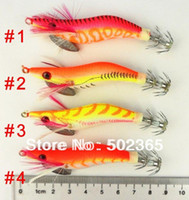 Wholesale Fishing Squid Jig Lures Wood Shrimp Fishing Lure CM G