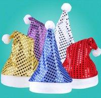 acrylic christmas ornament - New Fashion Christmas Decoration Sequins hats High grade Christmas hat Santa Claus hat Cute adults Christmas Cosplay Hats cc768