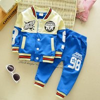 baseball uniform material - Autumn new wave of children s clothing suit children s two piece cotton baseball uniform material quality assurance